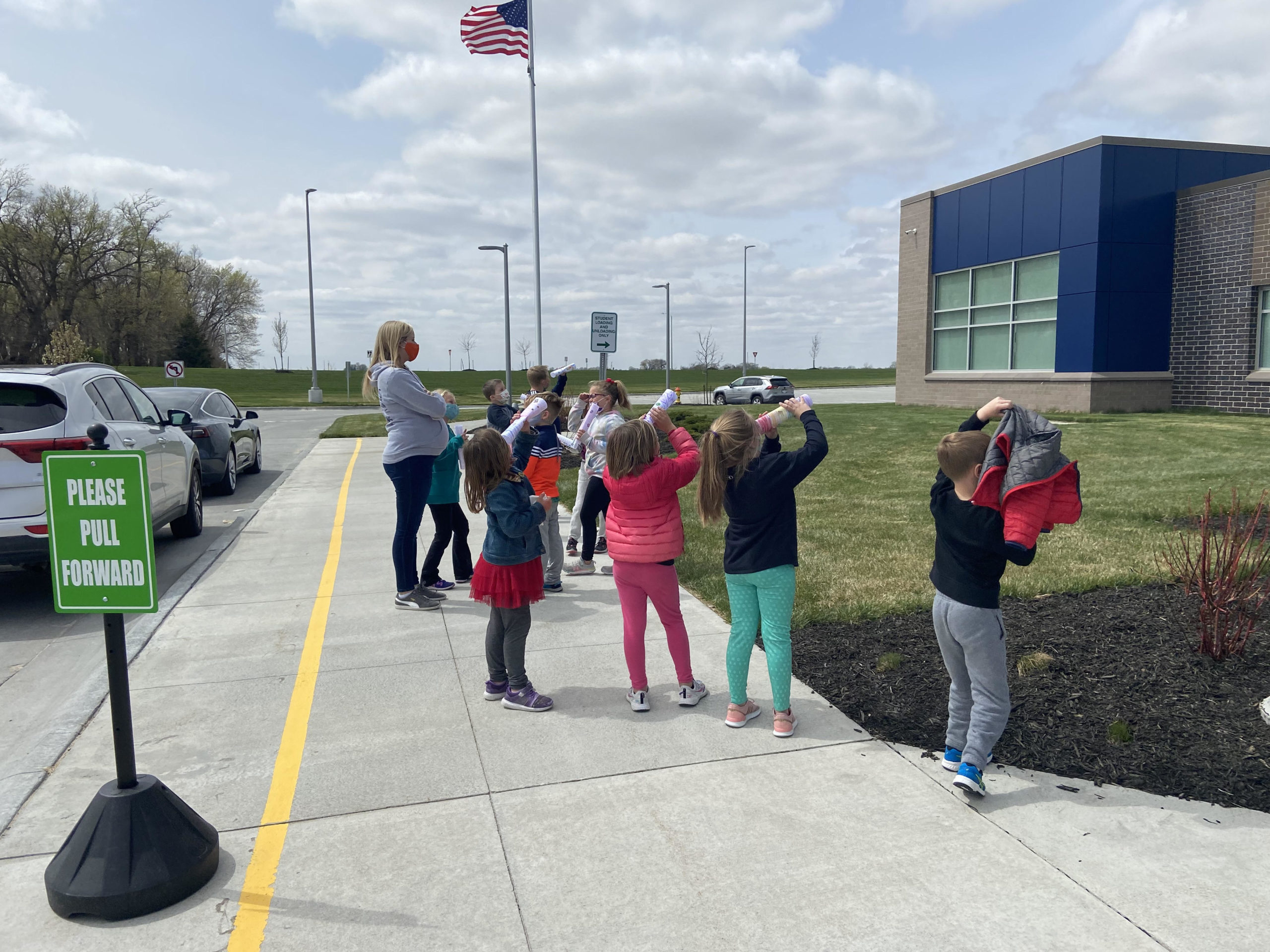 Students observing sky