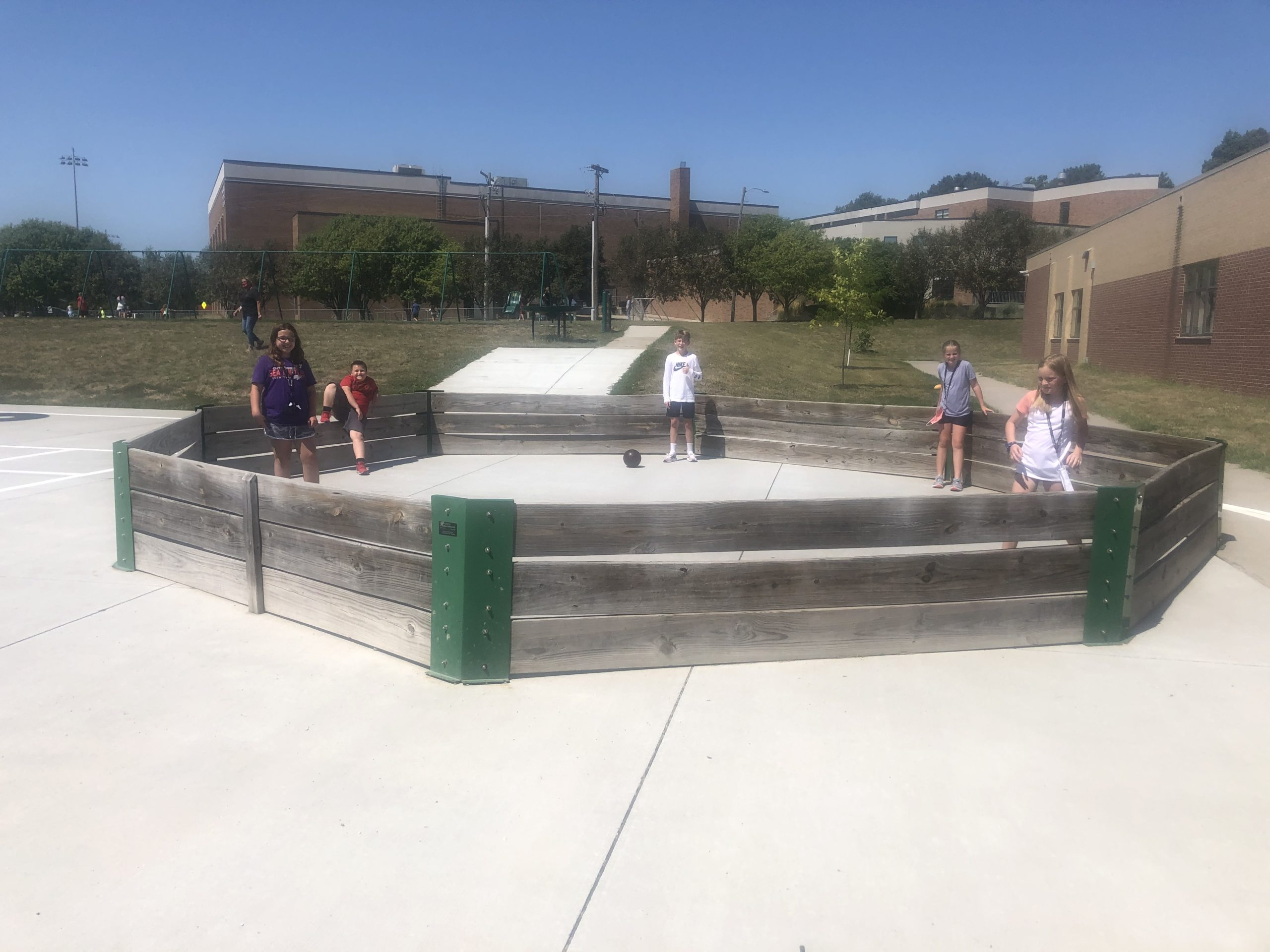 Students in gaga ball pit